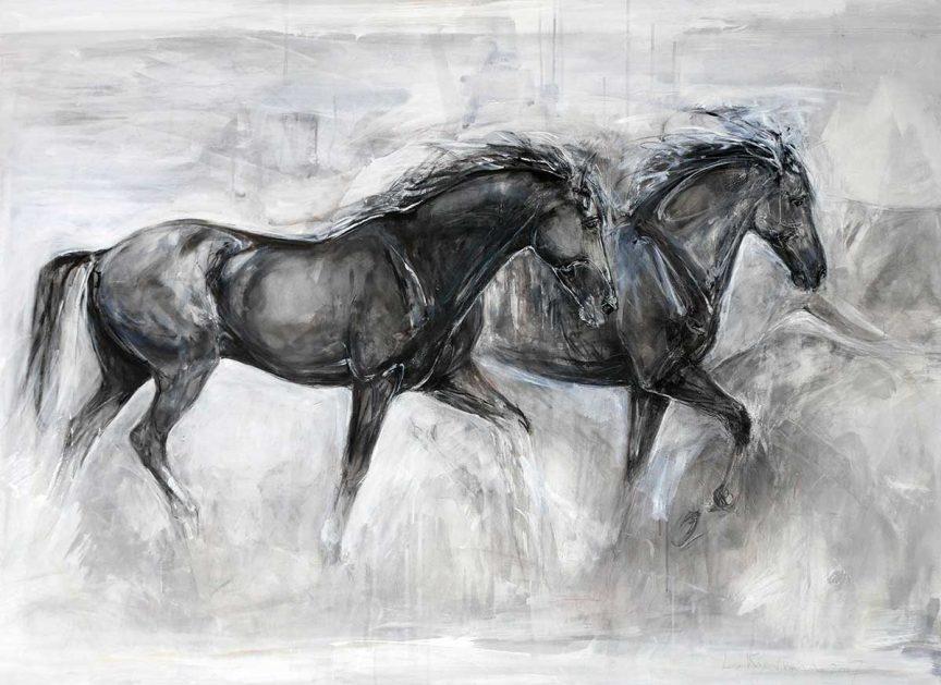 Black Horses on Canvas