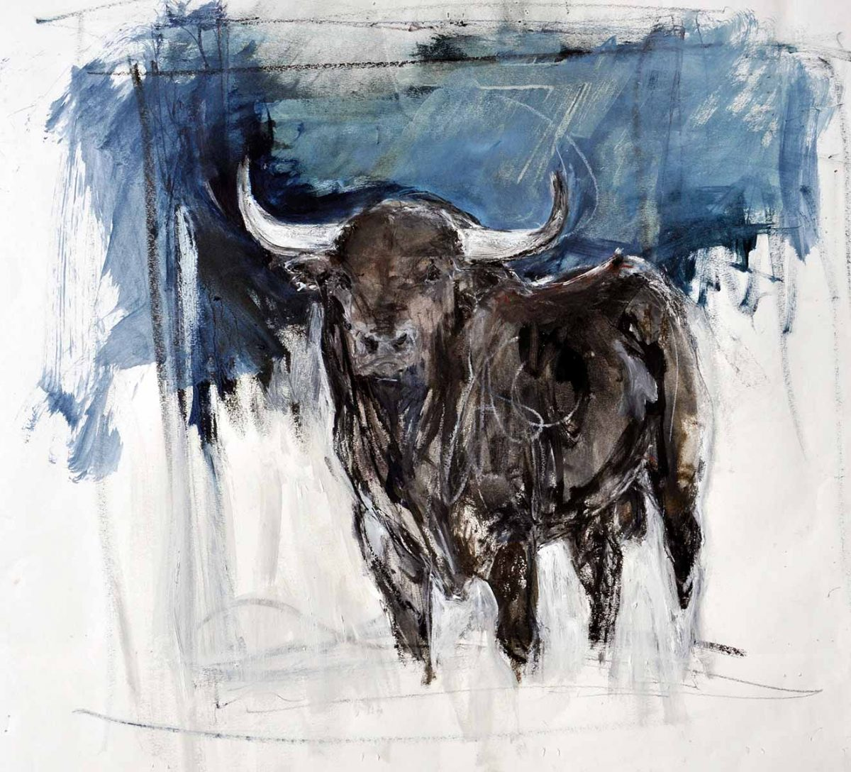 Bull With Blue