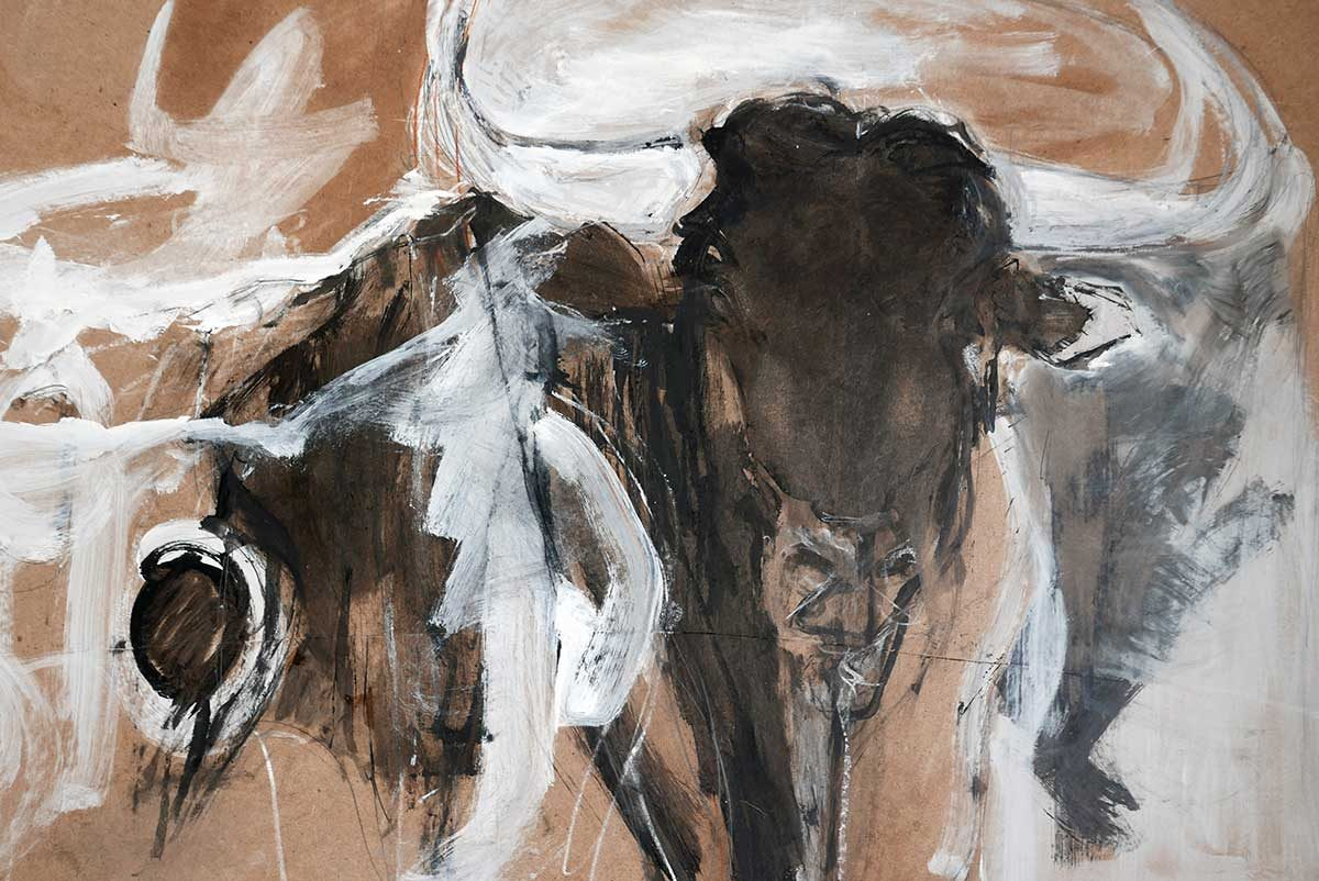 Bulls on Hardboard Series – no 1