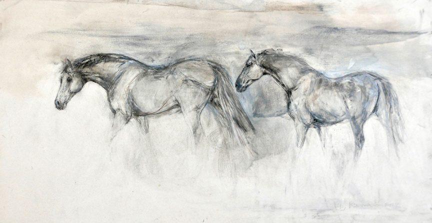 2 Horses Walking
