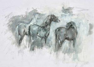 Oil Sketch 3 Horses