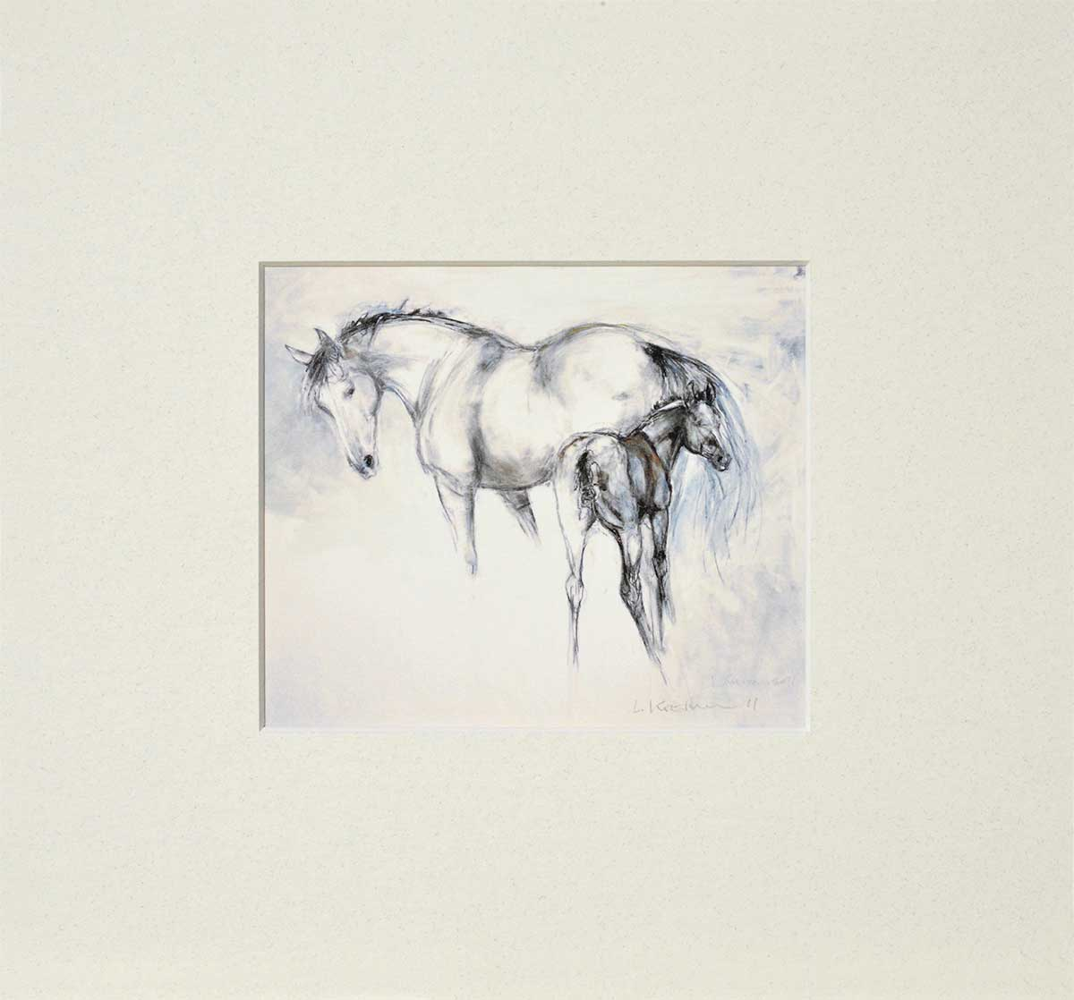 Mare and Foal mounted print